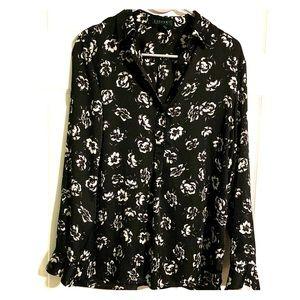 Ralph Lauren black with white flowers blouse